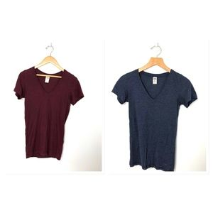 VS PINK V Neck  T-Shirts XS Blue Maroon x 2